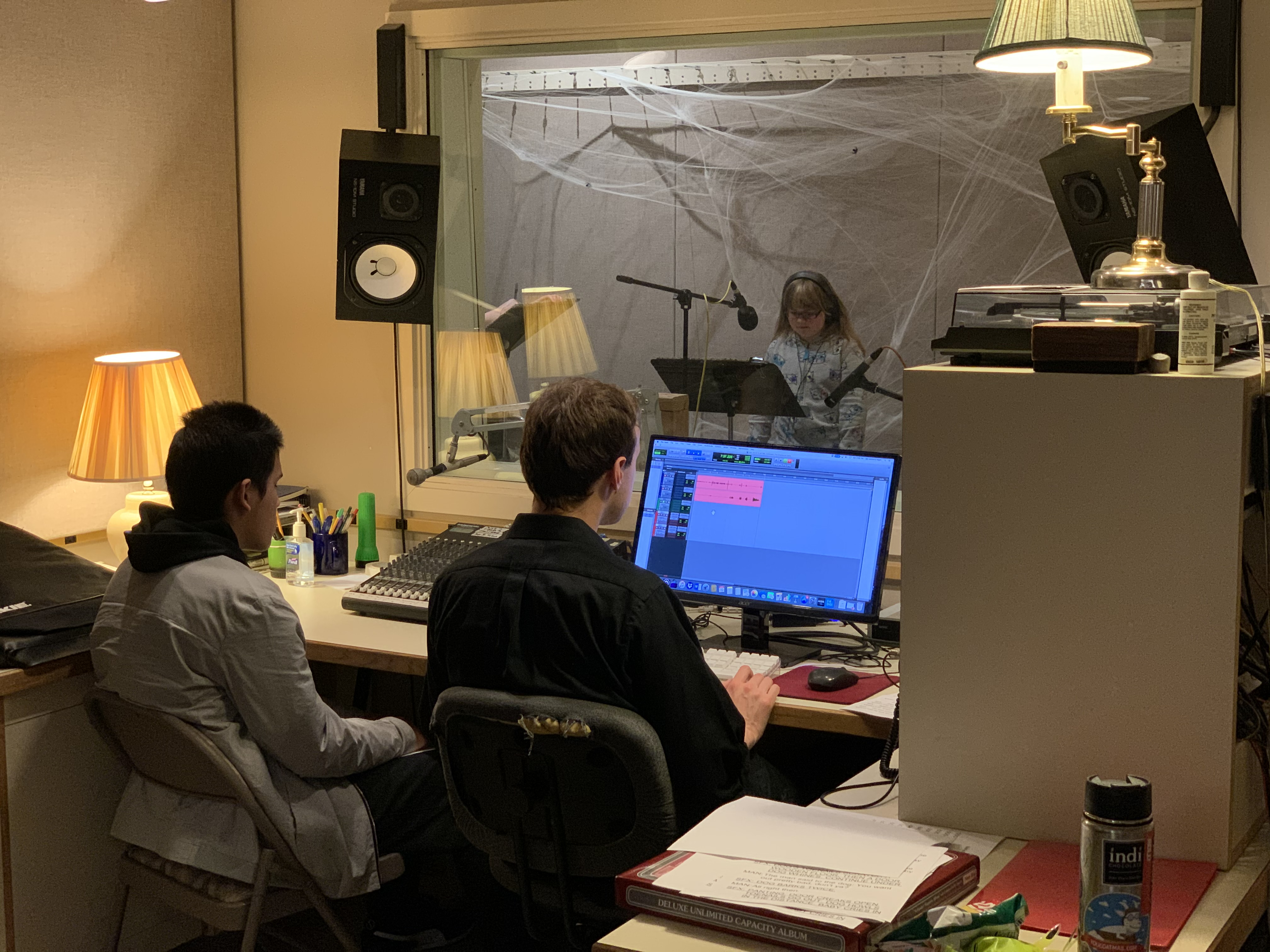 Image shows a voice coach and youth patron in a recording studio, while in the foreground a technician and blind youth patron work on sound levels on the computer.