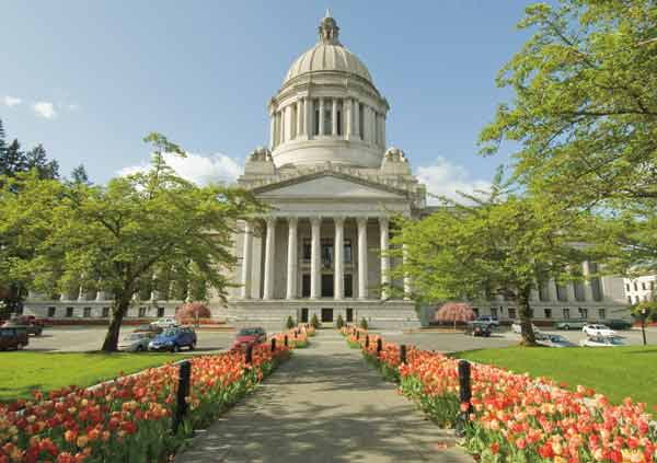 Washington State Capitol with tulips